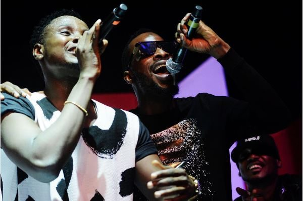 Kiss Daniel and 9ice perform together at the New Era album launch. Photo: Bella Naija